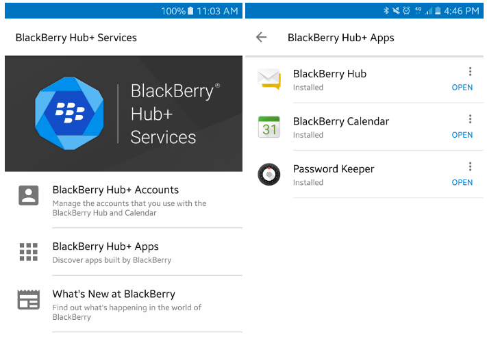 Сервисы BlackBerry Hub доступны на устройствах на базе андроид 6.0